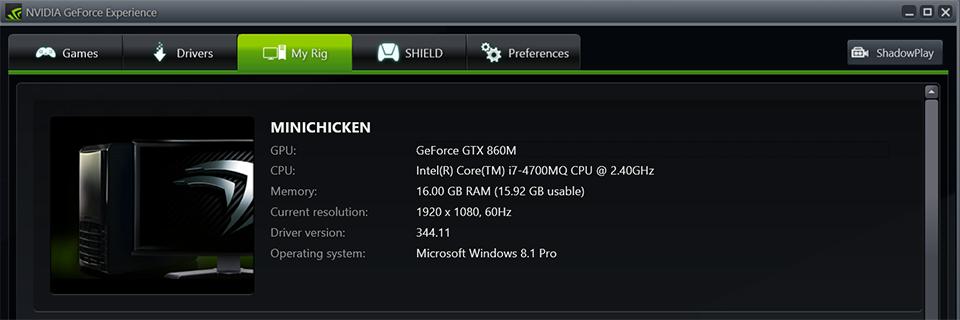GeForce Experience Rig