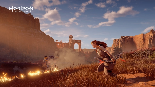 Aloy running with bow