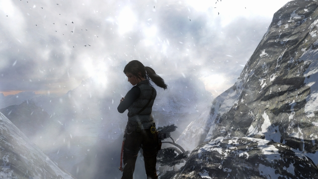 Lara Croft suffering from the cold.