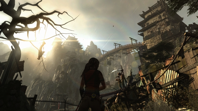 Lara Croft silhouette and Japanese buildings in the background.
