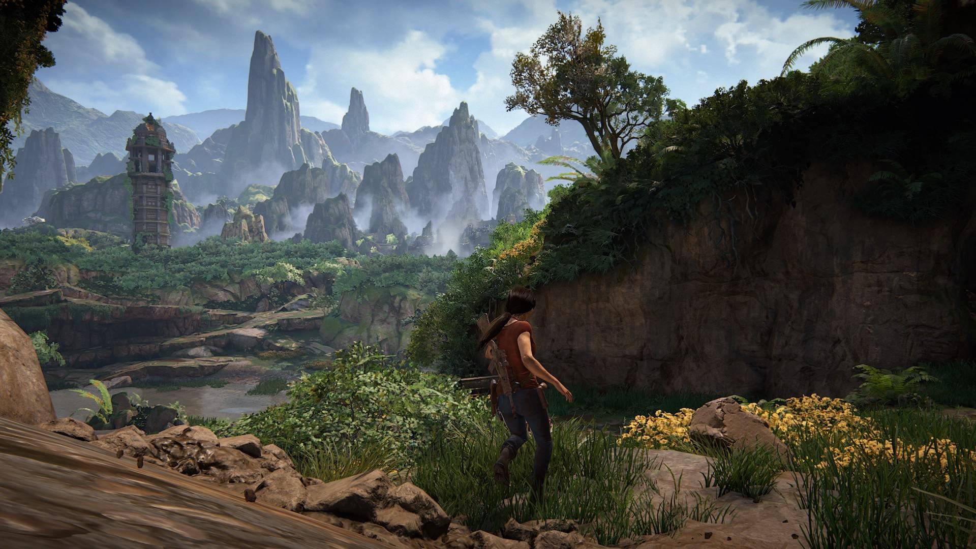 Chloe heading down a mountain path.