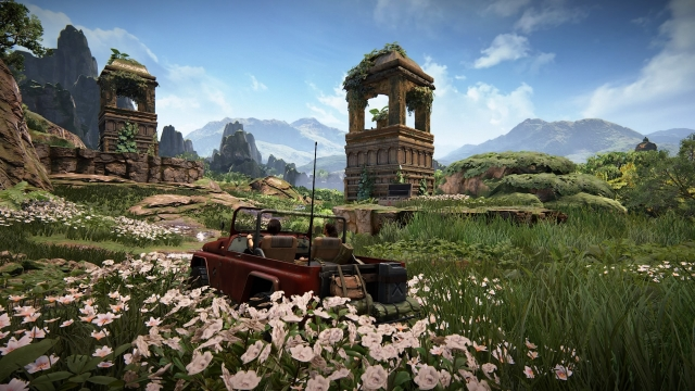 Truck traversing the beautiful landscape in Uncharted: The Lost Legacy.