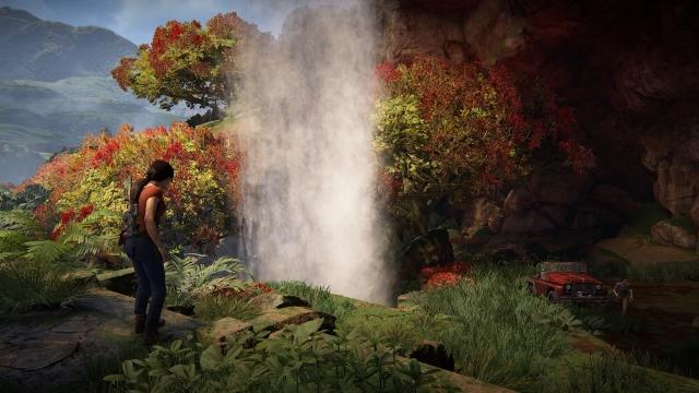 Chloe discovers a beautiful waterfall.