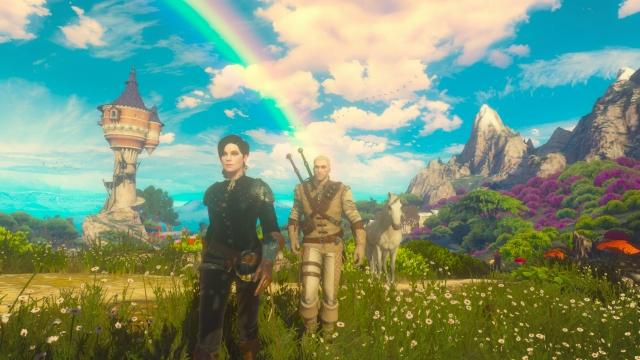 Witcher 3 unicorn and rainbow